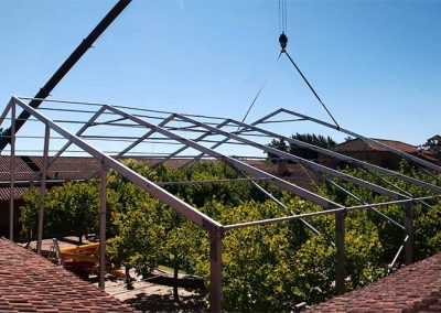 Building a marquee in a courtyard over some trees was very simply done with the right tools
