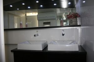 Mobile toilets work even better when guests don't get wet. We are able to build around the mobile units to ensure this.
